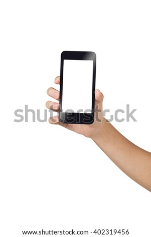 Hand holding smart phone isolated on white background, close up