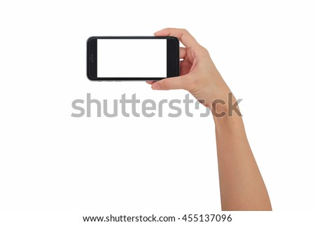 Hand holding smart phone isolated white background, use clipping path