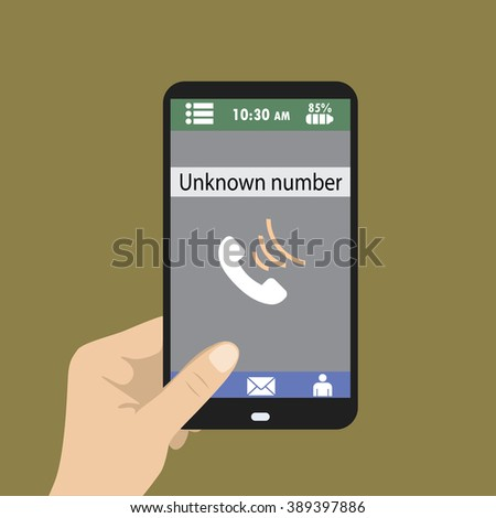 Hand holding smart phone, unknown number on screen