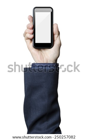 Hand holding smart phone with a white screen   - stock photo