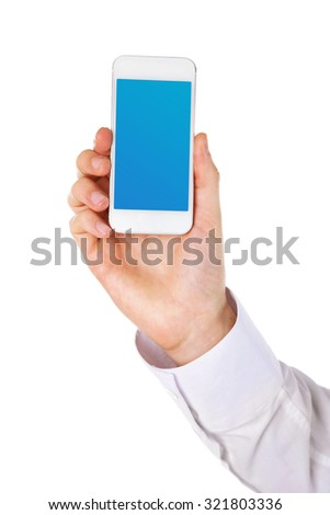 Hand holding smart phone with blue screen, isolated on white - stock photo