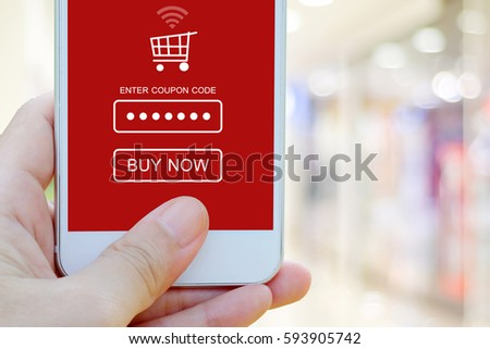 Hand Holding Smart Phone Discount Coupon Stock Photo 593905742