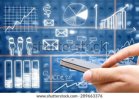 Hand holding smart phone with drawing business plan concept,mobile strategy - stock photo