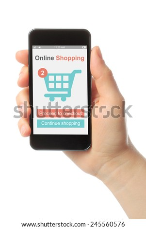 Hand holding smart phone with shopping concept on white background - stock photo