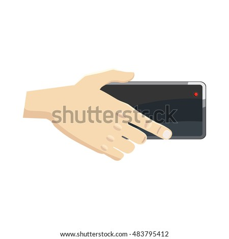 Hand holding smartphone icon in cartoon style on a white background
