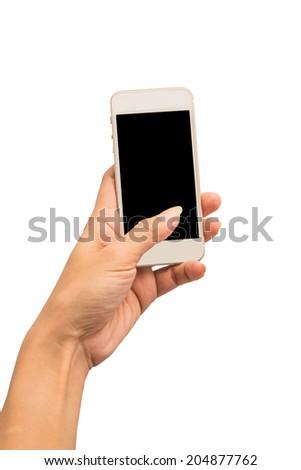 Hand holding smartphone isolated on white background - stock photo