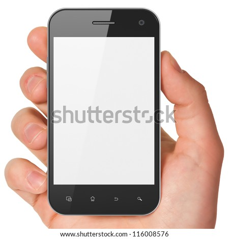 Hand holding smartphone on white background. Generic mobile smart phone, 3d render. - stock photo