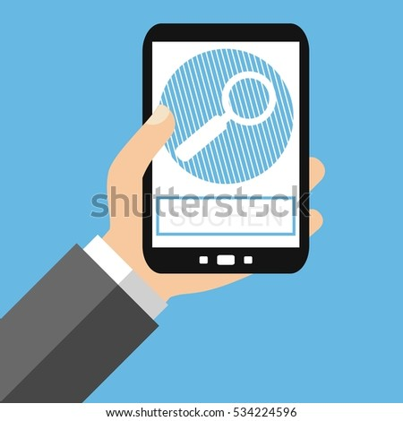 Hand holding Smartphone: Search in german language - Flat Design