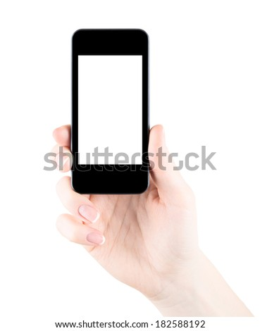 Hand holding smartphone with blank screen isolated - stock photo