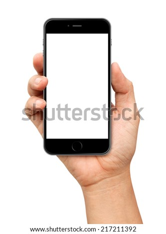 Hand holding Smartphone with blank screen on white background - stock photo