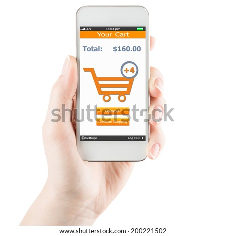 Hand holding smartphone with online shopping application on a screen - stock photo