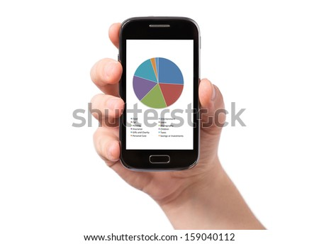 Hand holding smartphone with white, blank screen, isolated on white background - stock photo