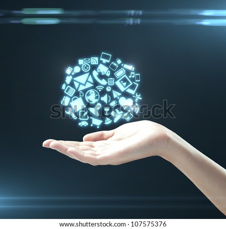 hand holding social media icons - stock photo