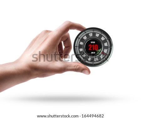 hand holding Speedometer  isolated on white background High resolution 3d