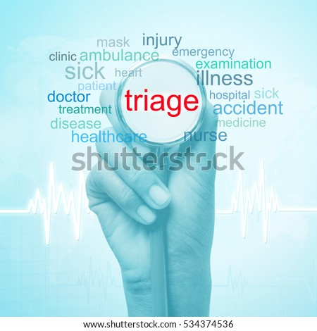 hand holding stethoscope with triage word. medical concept