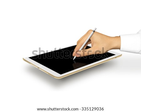 Hand holding stylus near graphic tablet blank screen. Empty tab display mock up. Designer drawing, painting, sketching. New digitizer pencil presentation. Gold tablet touchscreen mockup. Input device. - stock photo