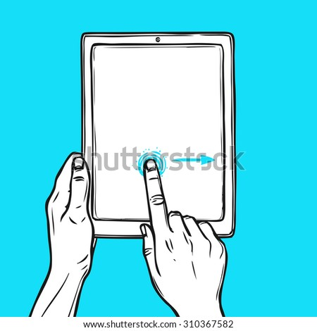 Hand holding tablet device and touching a button sketch on blue background  illustration. - stock photo