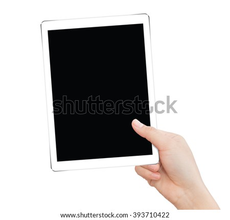 hand holding tablet like in ipades style isolated clipping path inside - stock photo