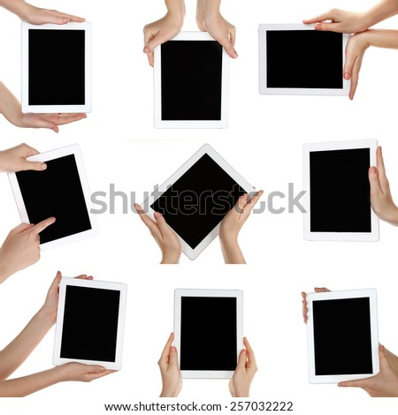 Hand holding tablet pc isolated on white, Different variations in collage - stock photo