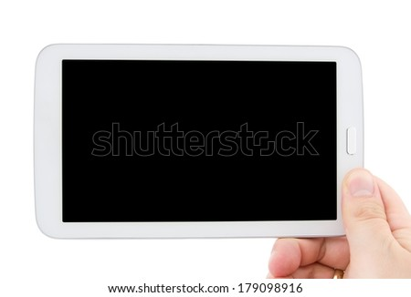 Hand holding tablet pc with empty black display. Horizontal composition - stock photo