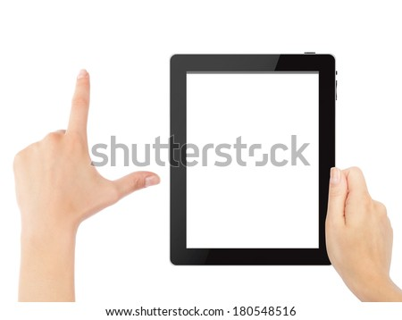 Hand holding tablet pc with touching hand. High quality and very detailed realistic illustration of android tablet pc. Add clipping path for touching hand. Isolated on white. - stock photo