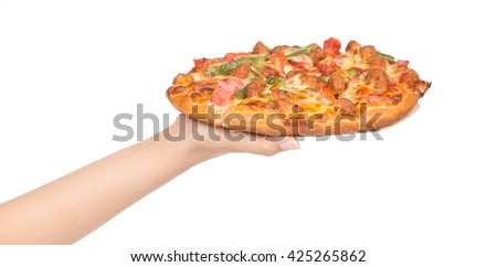 hand holding tasty flavorful pizza isolated on white background - stock photo