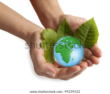 Hand holding the blue Earth - stock photo
