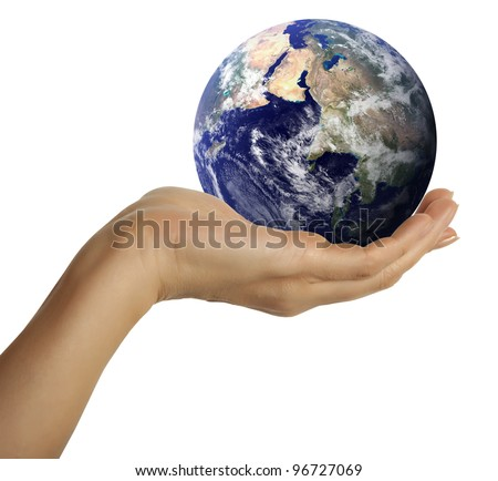 Hand holding the blue Earth. Elements of this image furnished by NASA - stock photo