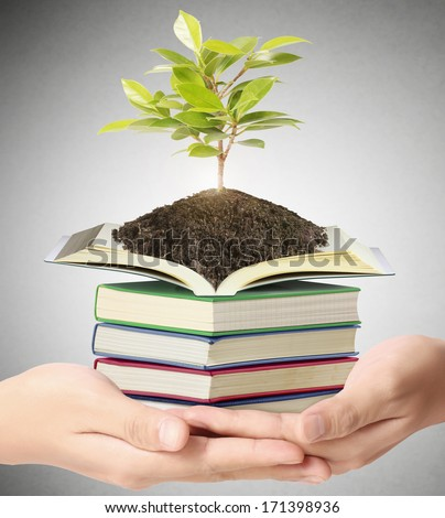 Hand holding the earth and Education  - stock photo
