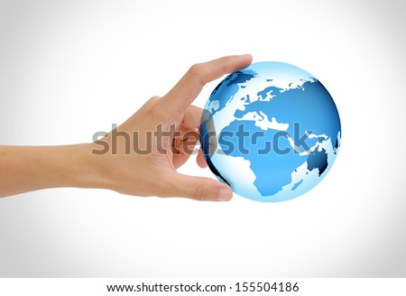 hand holding the earth isolated on white background, green globe concept