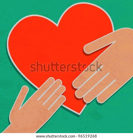 Hand holding the heart. Charity - stock photo