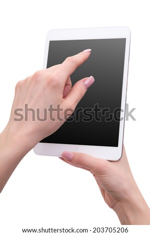 hand holding the phone tablet isolated on white background