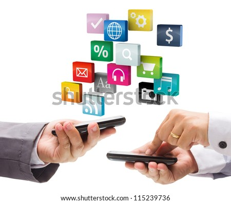 Hand holding the phone with colorful application icons, isolated on white background - stock photo