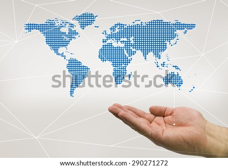hand holding the world in blue color - stock photo