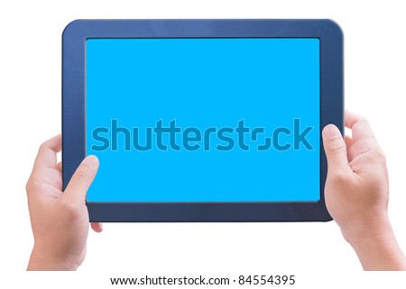 hand holding touchpad pc isolated - stock photo