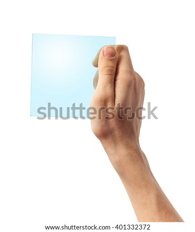 Hand holding transparent plastic device, isolated on white with clipping path