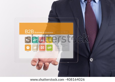 Hand Holding Transparent Tablet PC with Business to Business screen