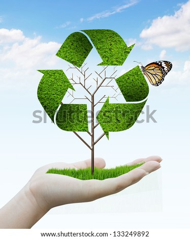 hand holding tree as a recycle symbol - stock photo