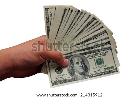 Hand holding 100 US dollar bill