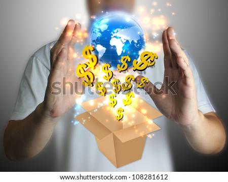 hand holding US dollar with globe - stock photo