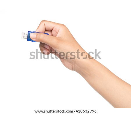 hand holding USB data storage or connecting computer device with USB cable, isolated on white background