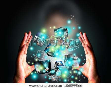 Hand holding virtual box - stock photo