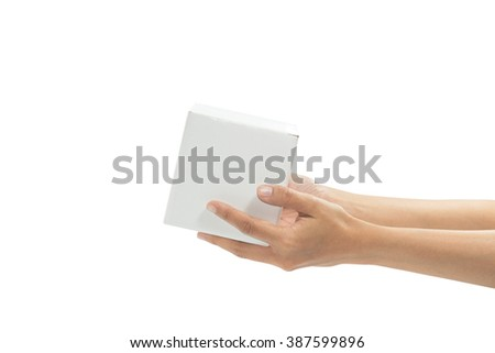hand holding white box. (transportation concept) - stock photo
