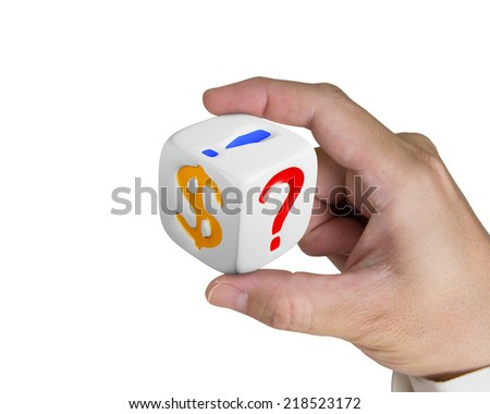 hand holding white dice with dollar sign isolated on white - stock photo