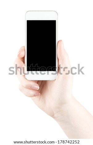 Hand holding white smartphone with black screen - stock photo