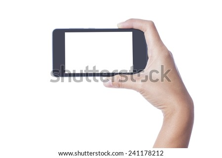 Hand holding White Smartphone with blank screen on white background