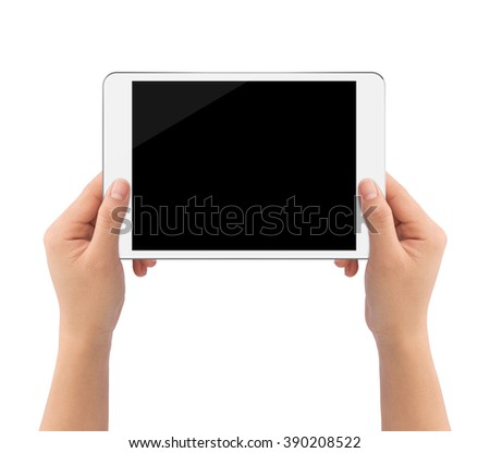 hand holding white tablet similar to ipades style isolated on white clipping path inside easy adjusment - stock photo