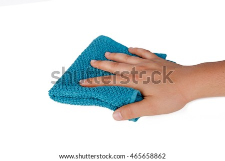 Hand holding wipe fabric for cleaning, isolated on white background.