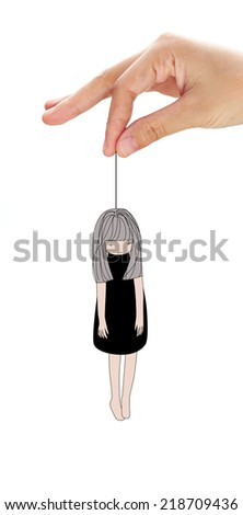 Hand holding women hanging in a rope loop. Cartoon. Concept about suicide. - stock photo