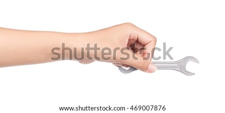 hand holding Wrench isolated on white background